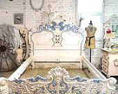 Painted Cottage Shabby Grey King Romance Bed by paintedcottages
