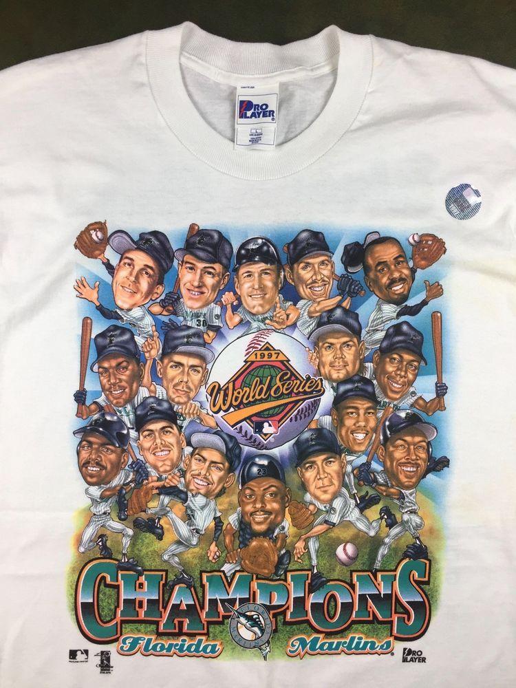 2f901e75 Vintage Mens L 1997 Florida Marlins MLB Baseball World Series Caricature T- Shirt #ProPlayer #FloridaMarlins