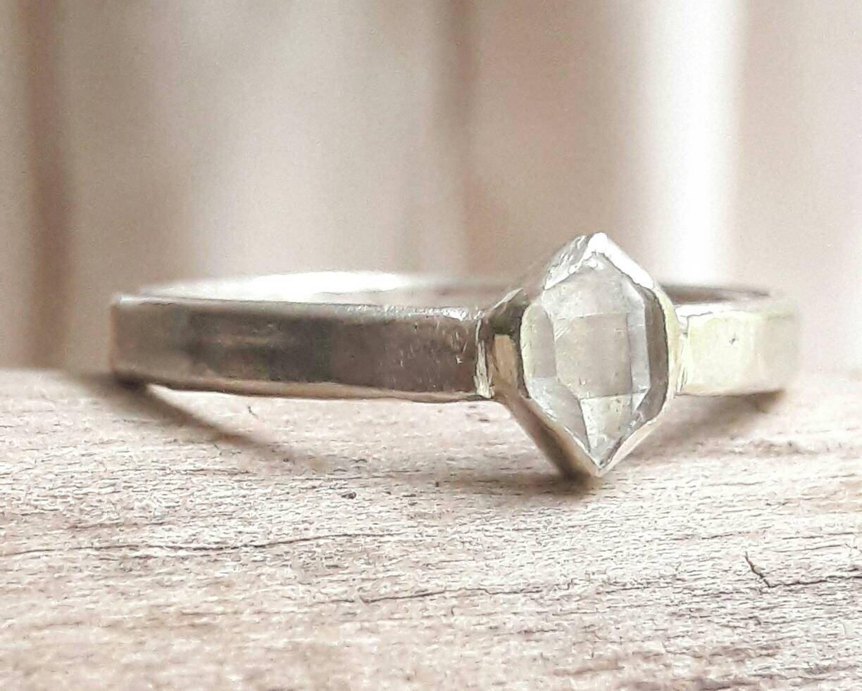 bezel set herkimer diamond wedding ring boho wedding ring unisex wedding band crystal engagement ring sterling silver wedding band