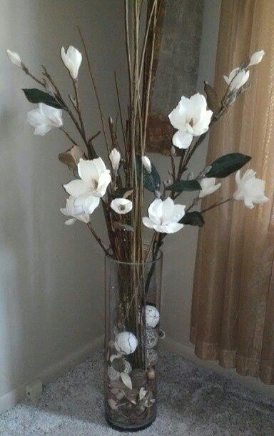 Faux Flower Arrangement With Potpourri Filler Floor Vase Decor Faux Flower Arrangements Glass Vase Decor
