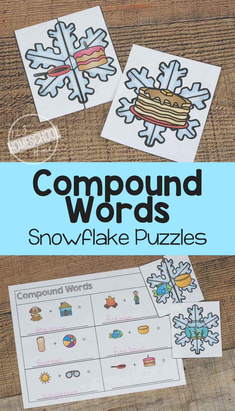 FREE Compound Words Snowflake Puzzles - this is such a fun compound ...