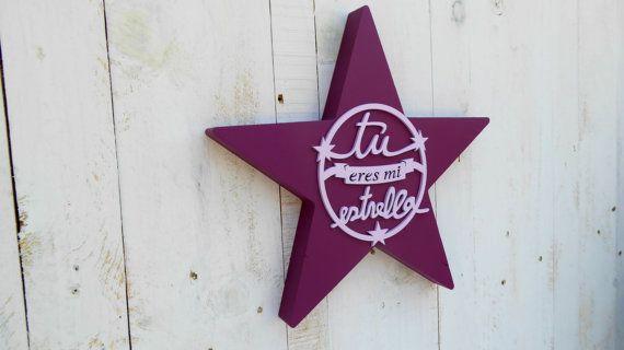 Estrella pintada LILA-ROSA por SmileAndWood en Etsy