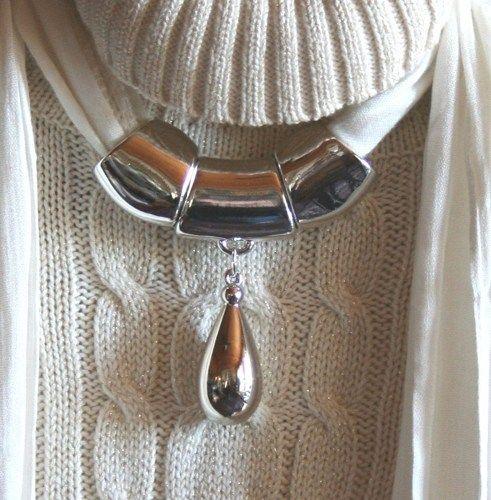 Scarf pendant silver acrylic waterdrop pendant scarf jewelry scarf scarf pendant silver acrylic waterdrop pendant scarf jewelry 123gemstones jewelry on artfire aloadofball Images