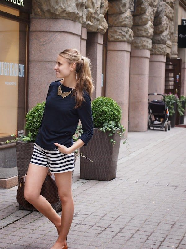 Summer outfit with striped shorts
