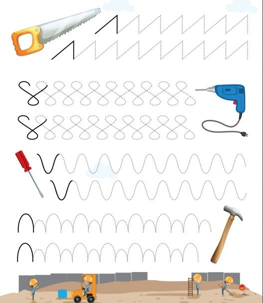 tools trace worksheet for kids (3)  |   Crafts and Worksheets for Preschool,Toddler and Kindergarten