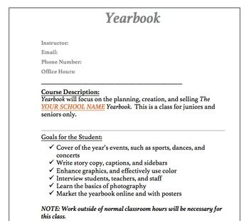 Yearbook Packet Syllabus Included  Syllabus Template Yearbooks