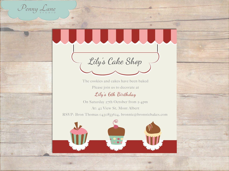 Cake Shop Invitation Girls Birthday Baking Cake Decorating Party – Cookie Decorating Party Invitations