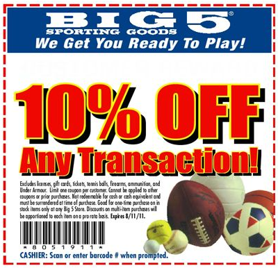 photograph relating to Big 5 Sporting Goods Printable Coupon titled Huge 5 carrying products and solutions coupon Leap back again discount coupons