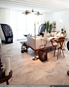 Elegant Silver Travertine Tile Ideas For The Living Room