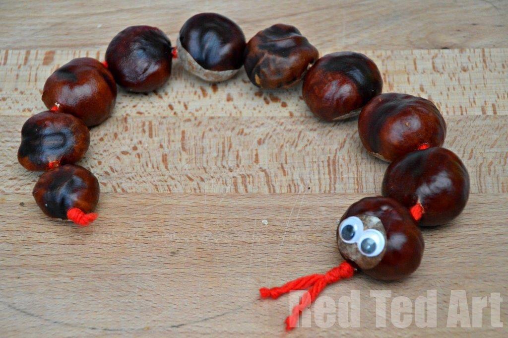 Autumn Crafts: Horse Chestnut Snake (Kastanienschlange) - Red Ted Art