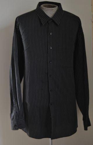 Mens Van Heusen Studios Black & Gray Dress Shirt Cotton Blend Sz 4XL Long Sleeve
