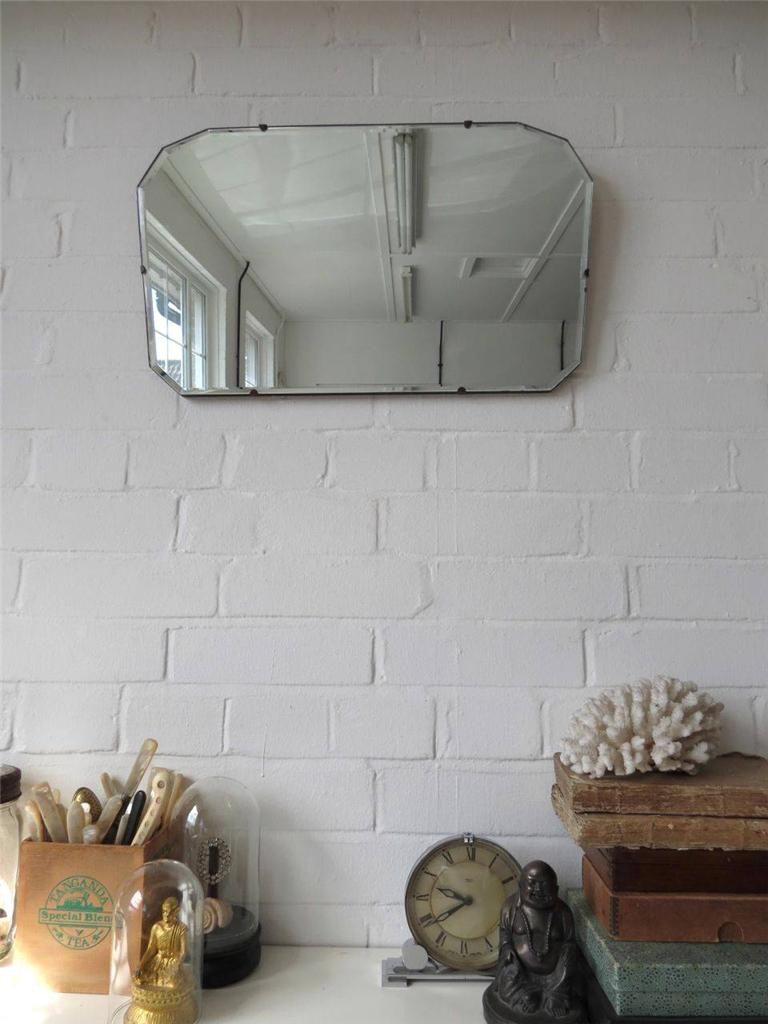 Vintage art deco wall mirror bevelled edge