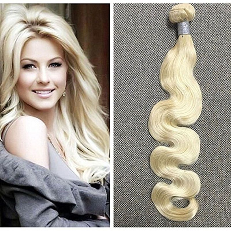 Remy Hair Extensions Blonde Real Human Hair Extensions Body Wave
