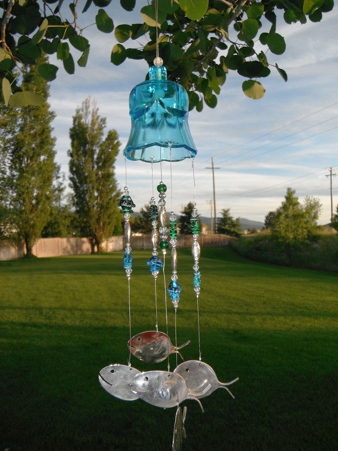 Glass Bell Fish Windchime with Antique Silverware.