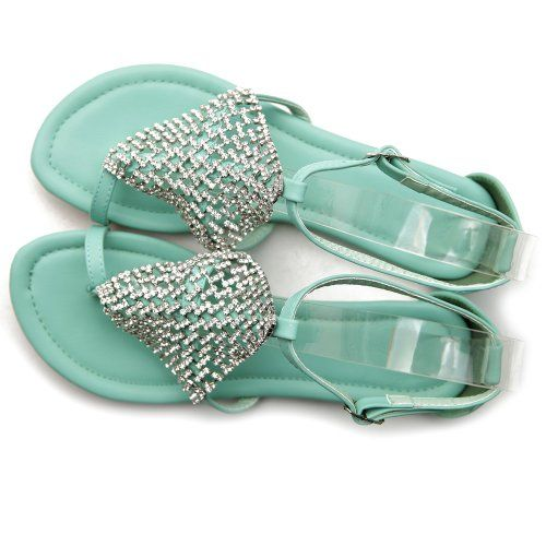 Ollio Womens Thong Sandals Crystals Buckle Toe Ring Slip-On Multi Colored Shoes  Buy New: $23.99 (On sale from $26.99)