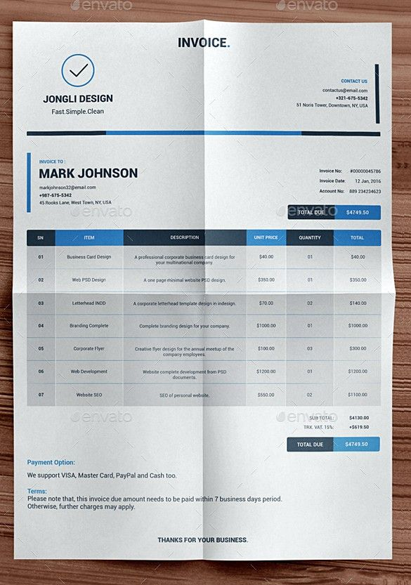 Clean Indesign Invoice Templates  Indesign Invoice Template  Best