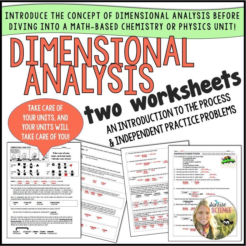 Dimensional Analysis Two Introductory Worksheets And A Super