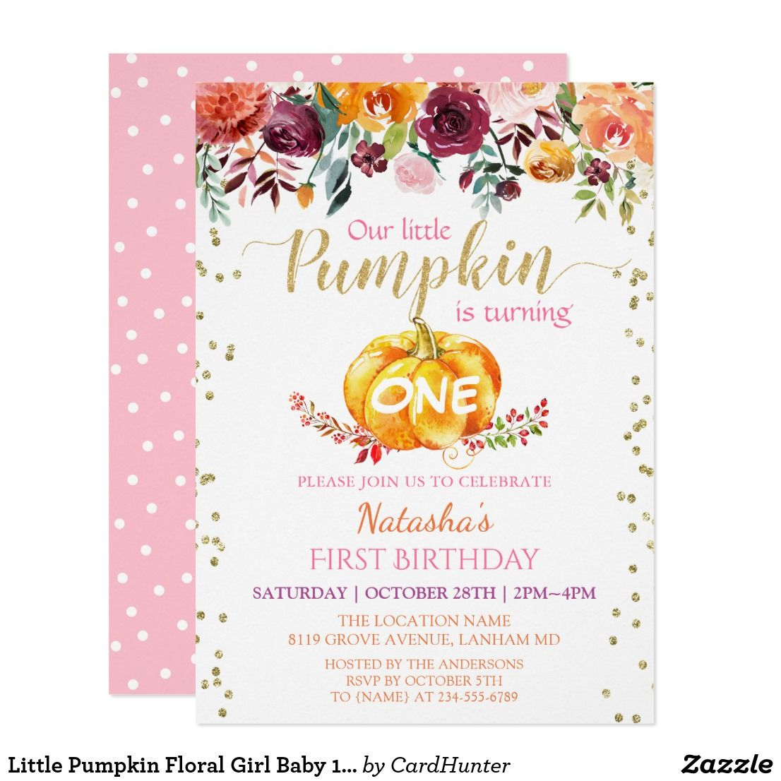 Little pumpkin floral girl baby 1st birthday party invitation glam gold pumpkin floral polka dots first birthday baby girl pretty personalized flowers 1st birthday party stopboris Images