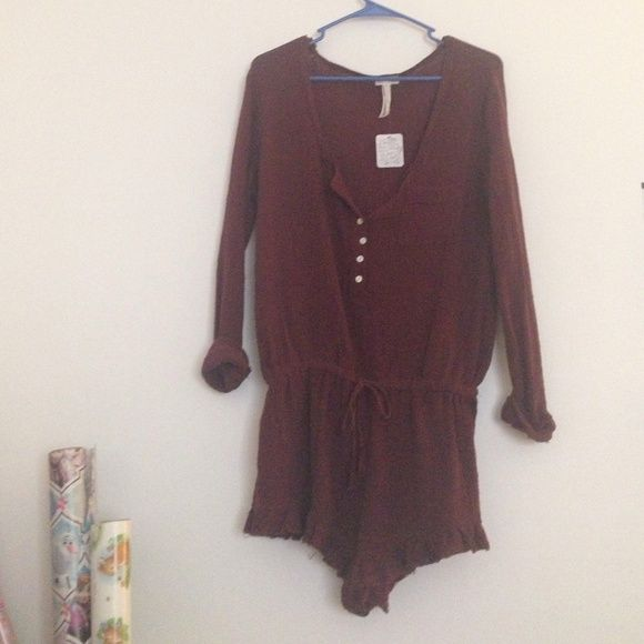 Free People Gauze Romper NWT, maroon ❤️ Free People Dresses
