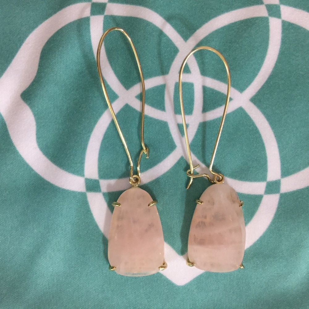 NEW $55 Kendra Scott Alex Gold Drop Earrings in Rose Quartz