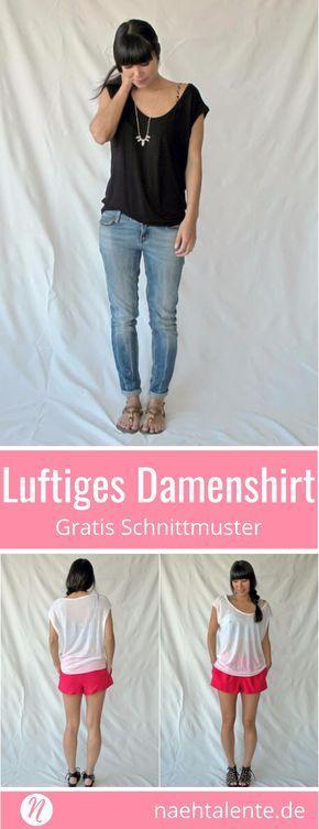 Das Elise-T-Shirt für Damen in Größe S, M und L #sewins