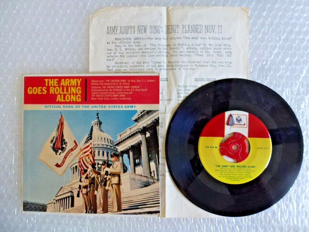 THE ARMY GOES ROLLING ALONG 45 RECORD J8OW-3753 OFFICIAL