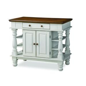 Home Styles Americana Kitchen Island in Distressed White with Oak Top-5094-94 at The Home Depot $474.20 too much money but love the style for center of my stamp room 24x42x36 high