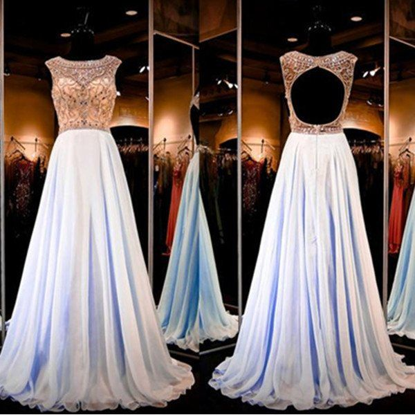 75% OFF!Long A-Line Crystal Detailing Chiffon Prom Dresses 2017
