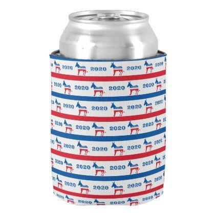 #stripes - #Patriotic 2020 Democrat Donkey Stripes Can Cooler