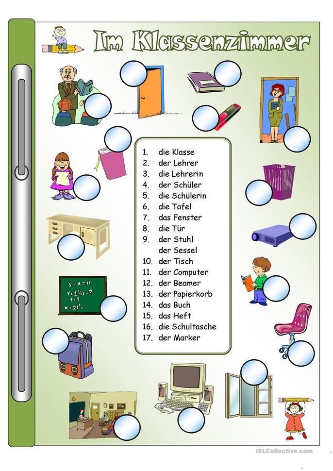 im klassenzimmer bilder w rter kids activity deutsch lernen deutsche sprache und deutsch. Black Bedroom Furniture Sets. Home Design Ideas