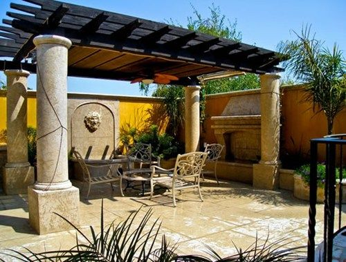 Elegant Pergola And Concrete Patio Pictures | Pergola Columns, Mediterranean Pergola,  Patio PergolaWalkway And .