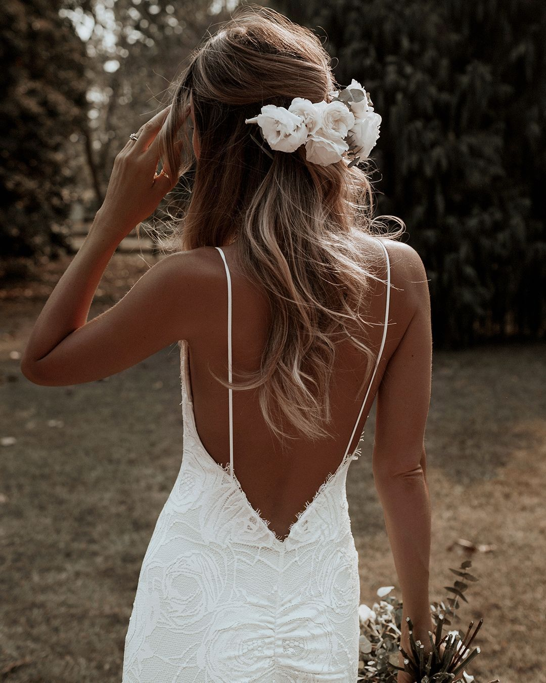 That BACK! We got the angle of the low back on our gorgeous Clo gown just right – it's elegant,