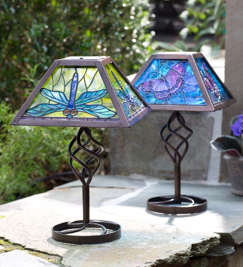 Decorative Unique Pendant Lights Outdoor Kitchen Cheap: Tiffany Style Solar Outdoor Table Lamp