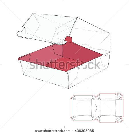 Fast Food Sandwich Burger Box with Die Line Template | אריזות ...