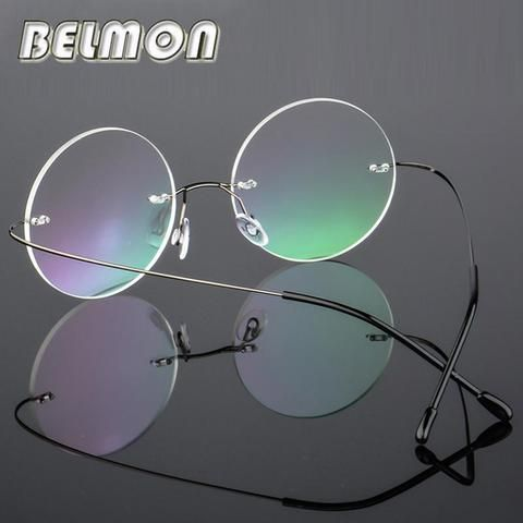 f539ca2588cf Round Rimless Spectacle Frame Women Men Vintage Ultra-light Eyeglasses  Computer Optical Eyemodlilj
