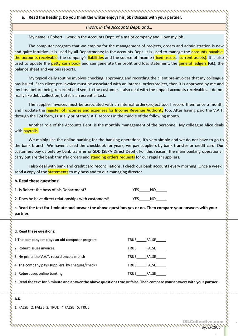 Basic accounting vocabulary, language through text, guided discovery ...