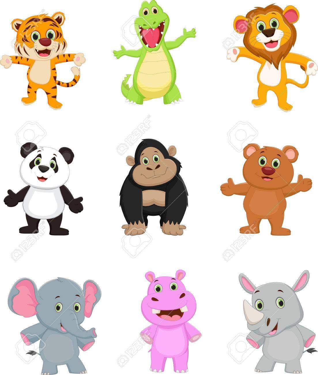 Coleccion De Dibujos Animados De Animales Salvajes Ilustraciones Vectoriales Cli Animales Dibujos Animados Animales Animados Tiernos Animales Salvajes Dibujos