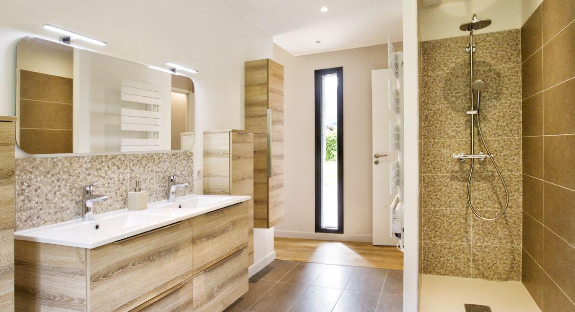Rénovation de salle de bain - Douche, pierre, bois, beige - Optiréno