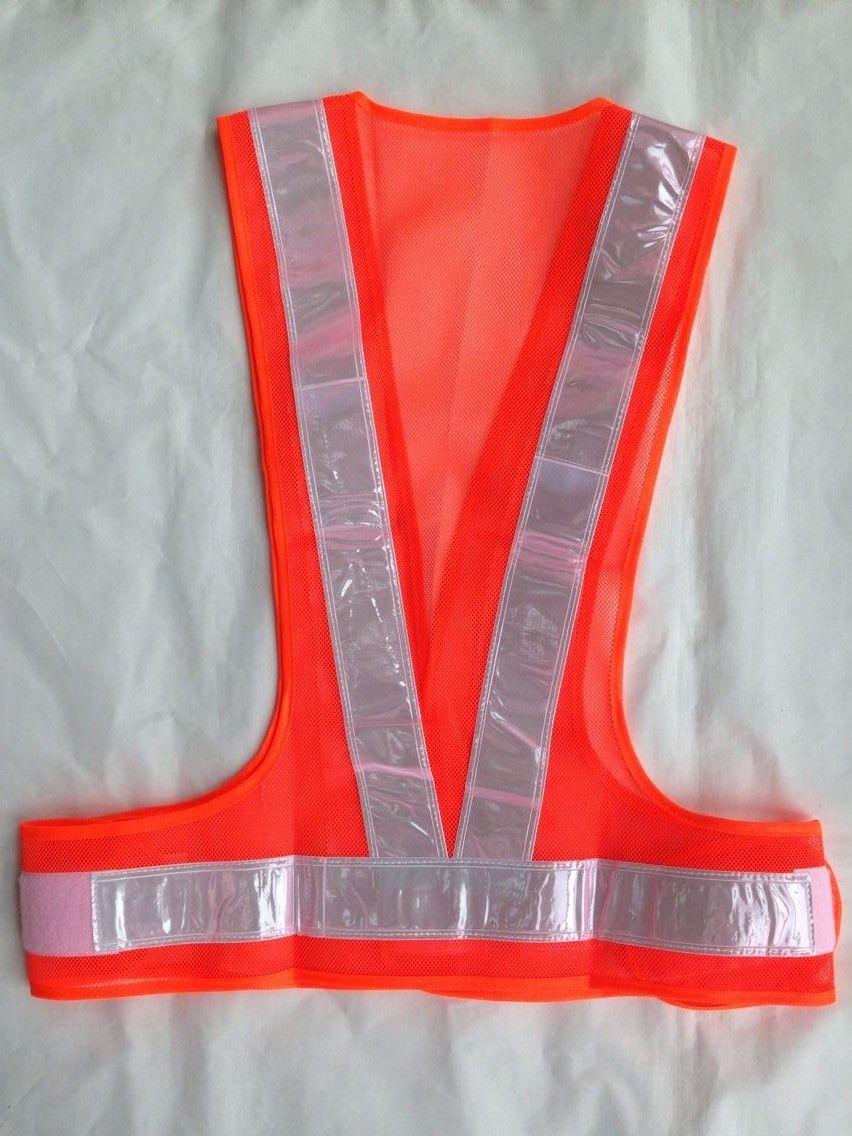 Orange mesh safety vest with white PVC reflective tape