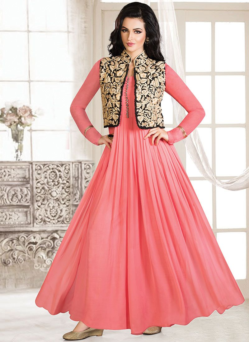Pink Georgette Jacket Style Gown | Indian & Fashion | Pinterest