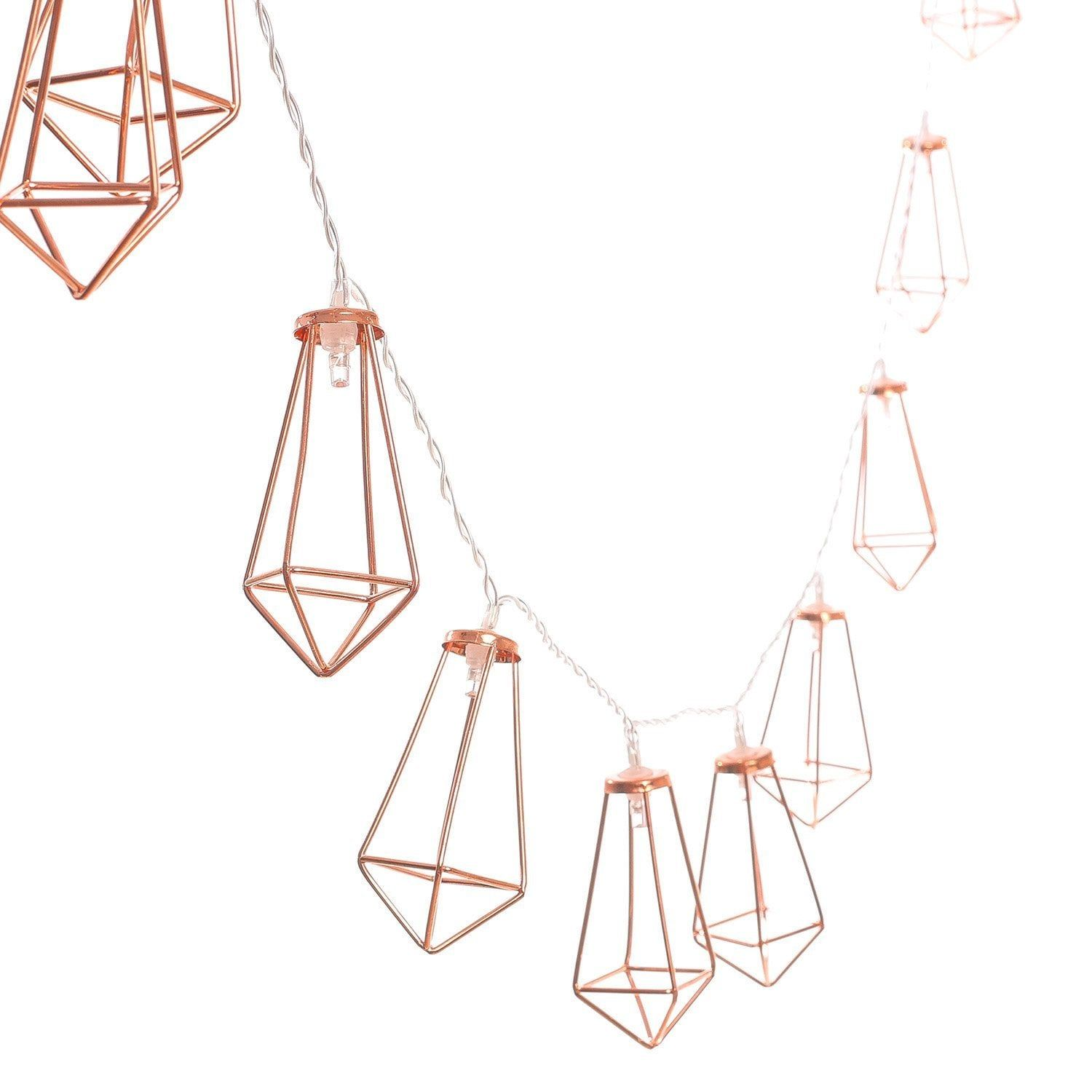 Christmas gift idea Rose gold//Copper 10 geometric wire cage LED string lights