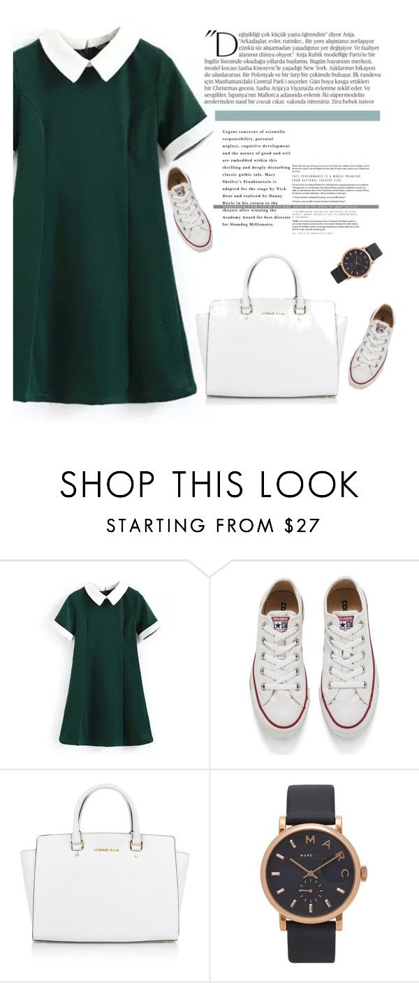"""Schoolday"" by amela-tabakovic ❤ liked on Polyvore featuring Balmain, Converse, Michael Kors and Marc by Marc Jacobs"