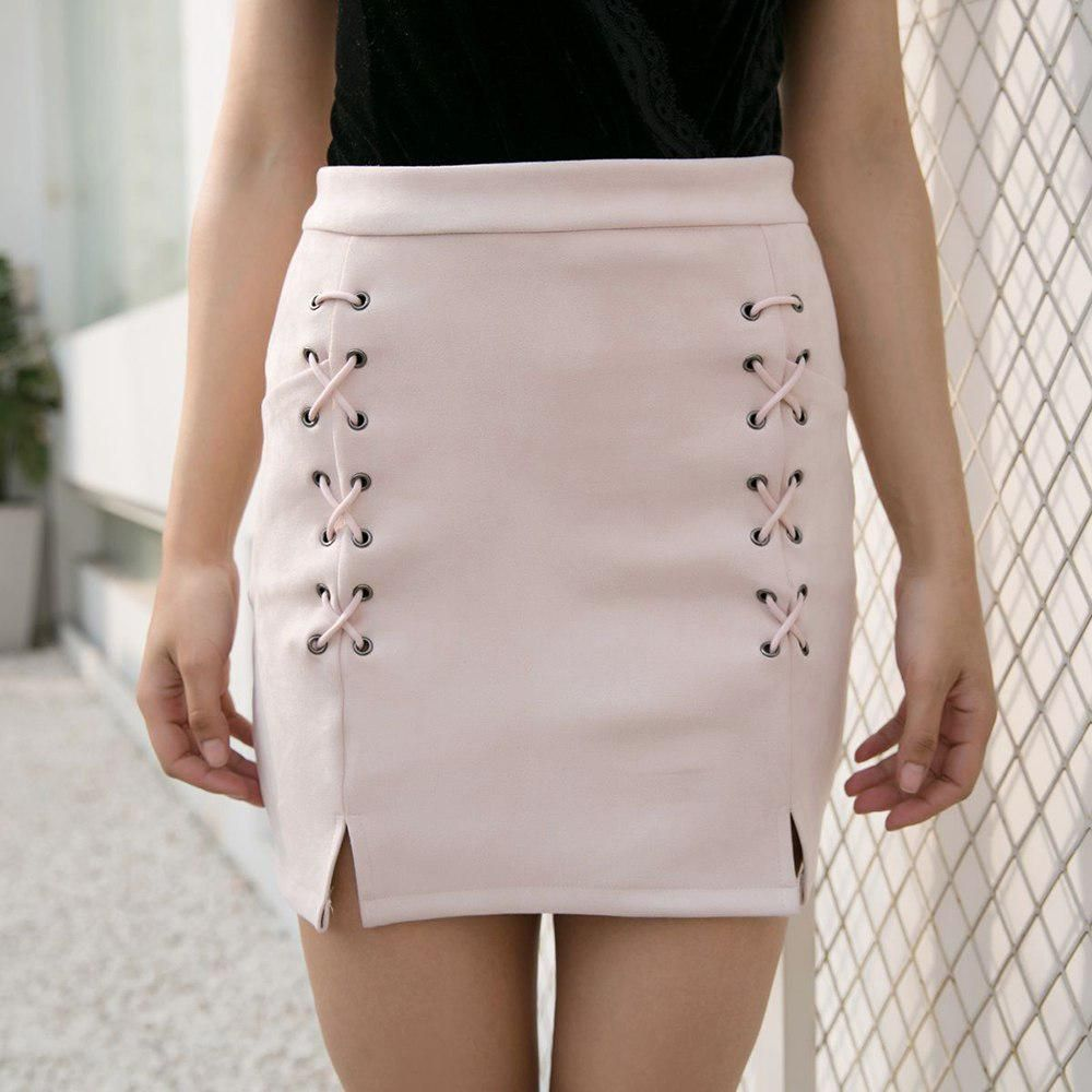 a2cb60a5171ea Dower Me Autumn lace up leather suede pencil skirt Winter 2018 cross ...