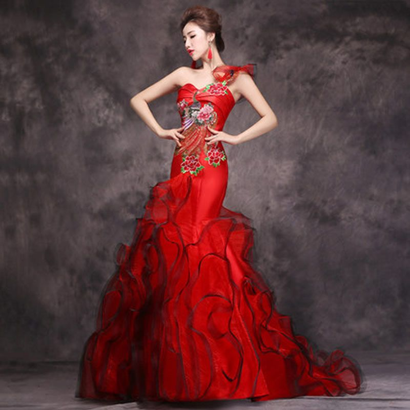 2016 Luxury Red Evening Dress Chinese Traditional Qipao Long ...