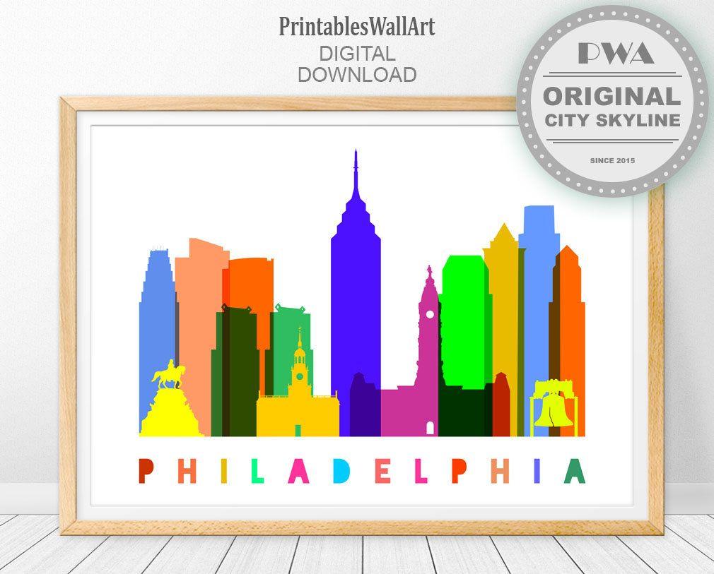 Philadelphia Print Digital Download Philadelphia Skyline Printable Travel Poster Philadelphia Wal Philadelphia Wall Art Philadelphia Print Travel Room Decor