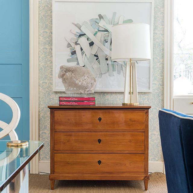antique biedermeier chest from london collage art by selena - new blueprint interior design magazine
