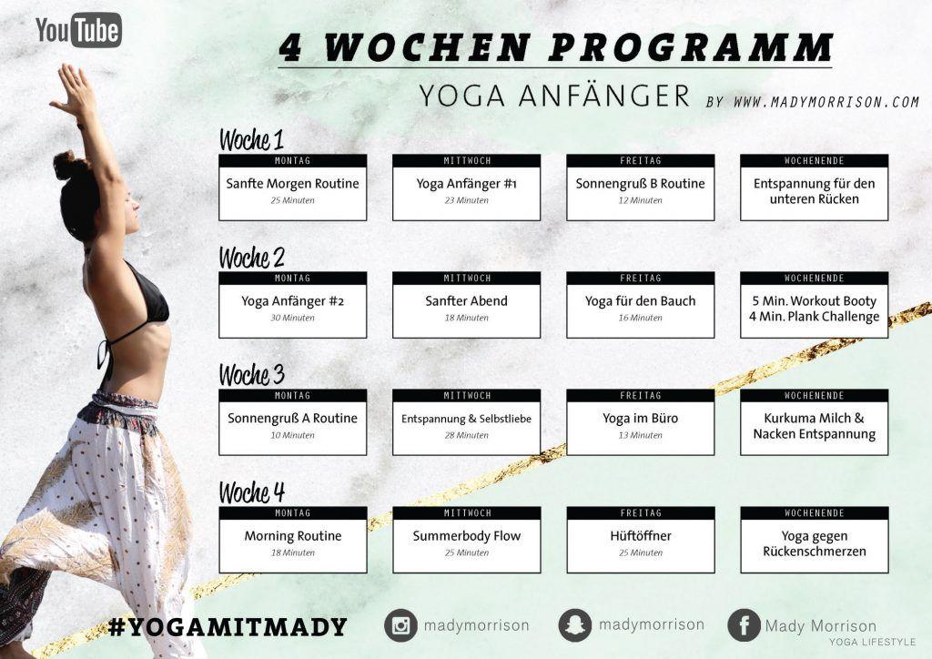 4 Wochen Yoga Programm | Für Anfänger & Geübte - Mady Morrison - Yoga Lifestyle #benefitsofpilates