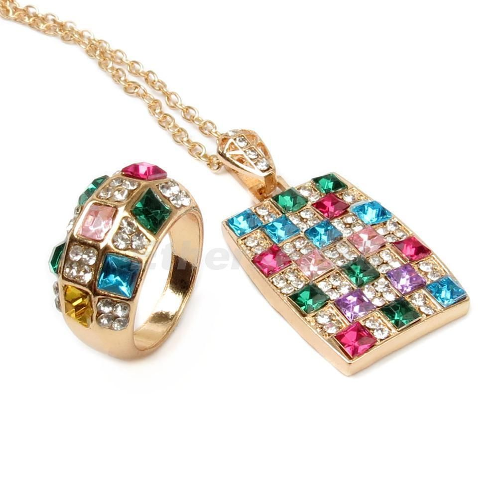 Ladies colorful gold crystal square pendant chain necklace ring