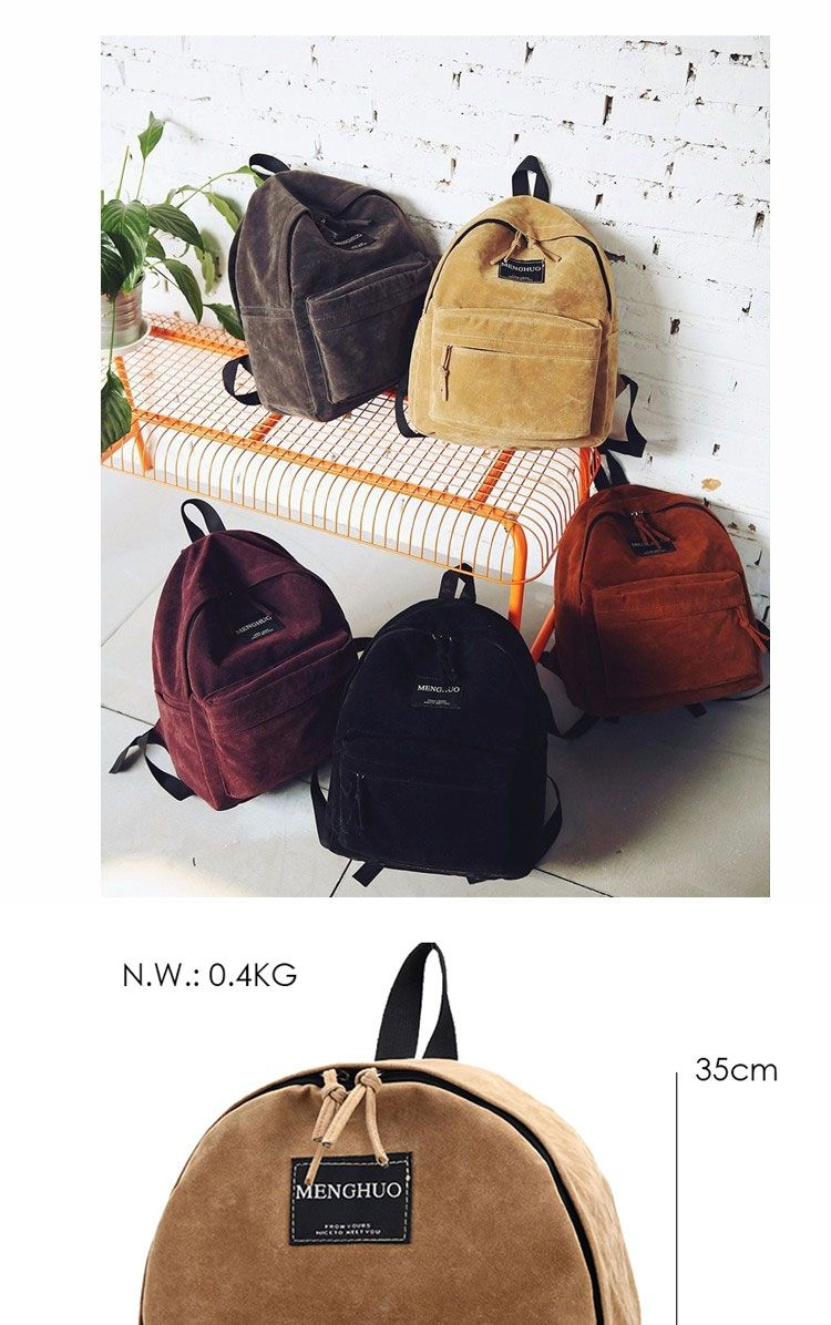 93938d4fb3 MengHuo new Women Backpack youth korean style shoulder bag Solid Vintage  School Bag Backpacks for Teenage Girls Suede Backpack - Fatekey