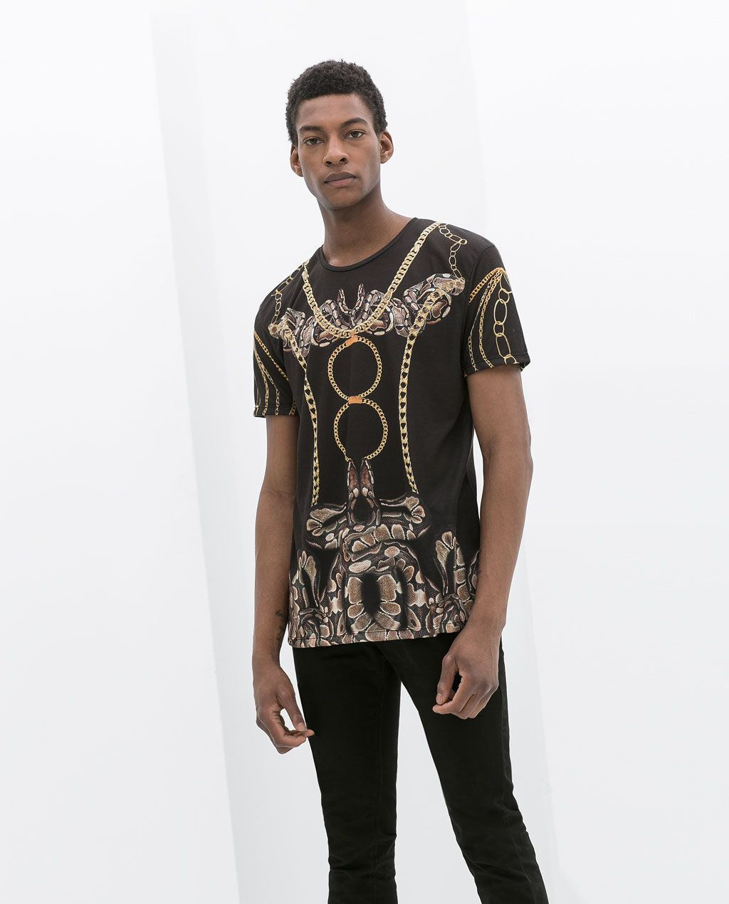envío directo original de costura caliente chic clásico ZARA - MAN - SNAKE PRINT T-SHIRT | Men fashion♀ | Zara ...